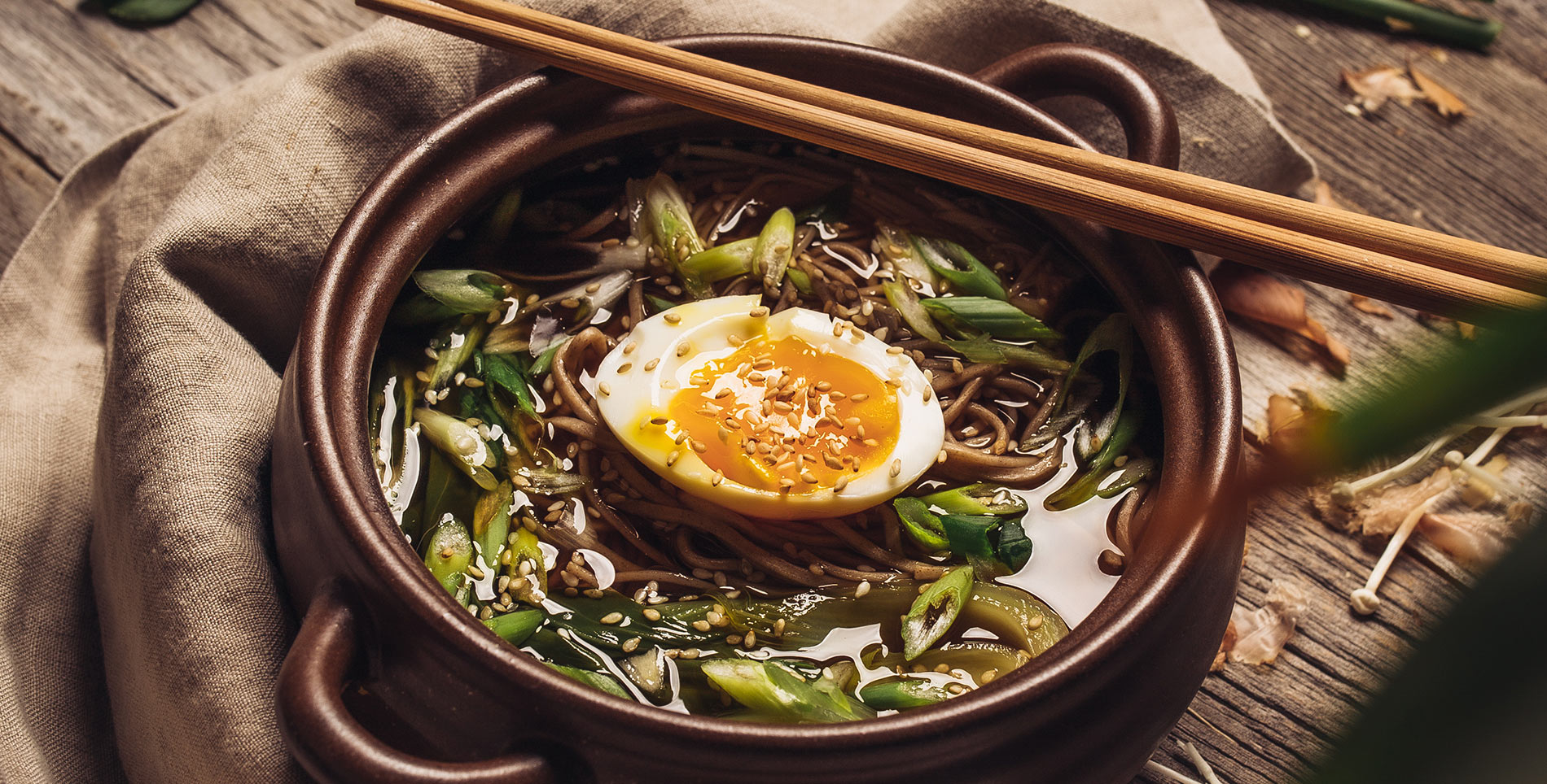 Hot Soba Soup with Soft Boiled Egg